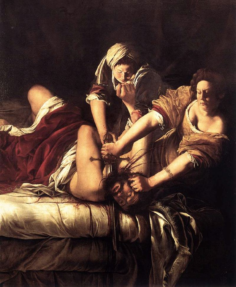 judith slaying holfernes Gentileschi's most famous work, judith slaying holofernes (c1614–20), is notable for its brutality combined with a masterful rendering of flesh tones and fabrics italian, 1593-1653 group shows.